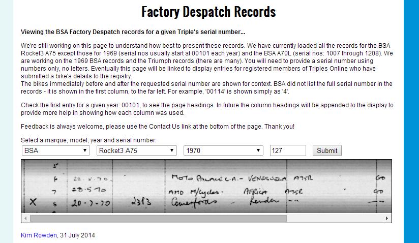 bsa factory dispatch records